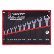 Набор ключей рожковых 10пр.(6x7мм-24х27мм) на полотне Forsage